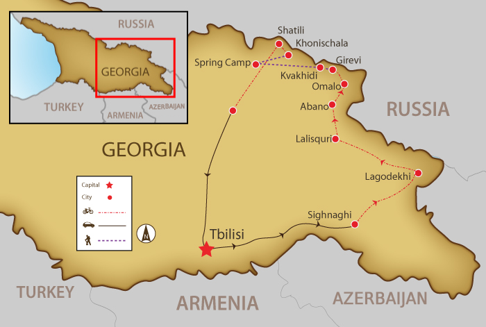 Map Of Georgia Ussr.Bike And Hike Georgia